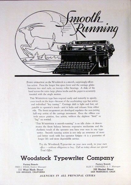 Smooth Running in 1938. The Woodstock Typewriter Company. California State Employee magazine.