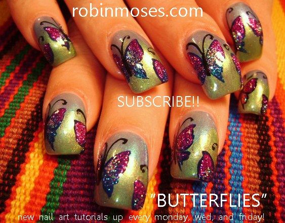 glitter BUTTERFLIES on gradient by robinmoses - Nail Art Gallery nailartgallery.nailsmag.com by Nails Magazine www.nailsmag.com #nailart