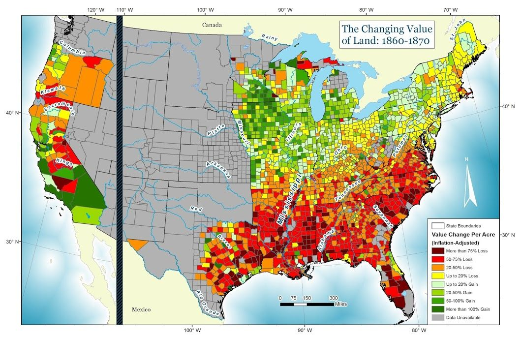 Land Value Changes United States 1860 1870 By Lyingmap Map Usa