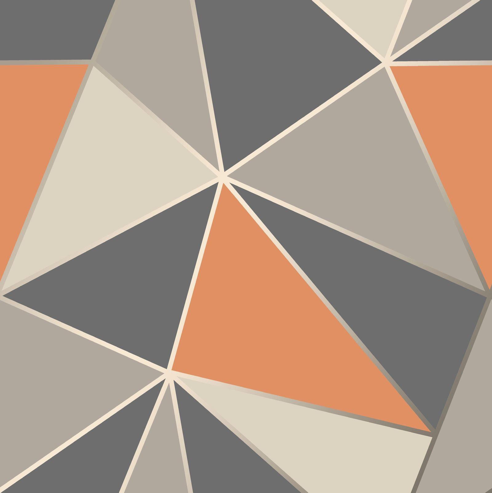 Apex Geometric Wallpaper Luxury Modern Metallic Fine Decor Orange Grey Silver