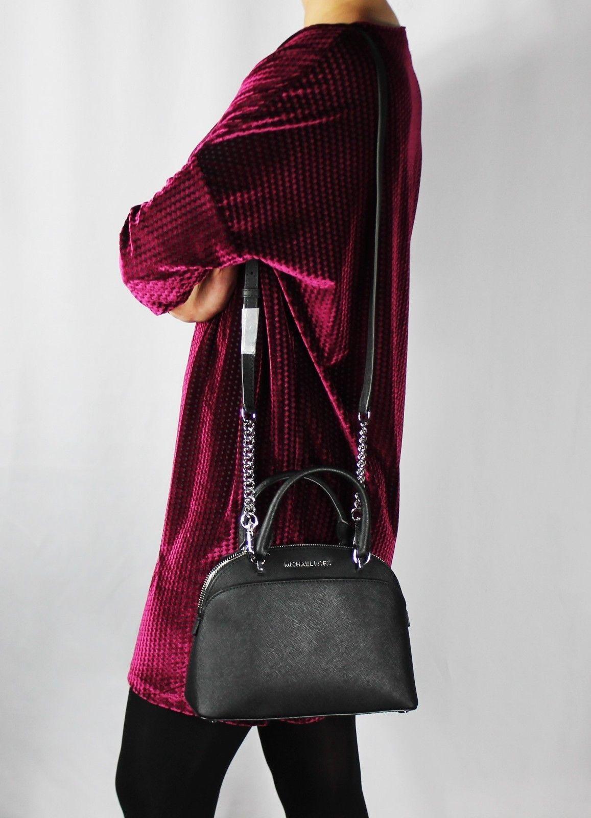 b87a943ac197 MICHAEL KORS EMMY Small Dome Satchel Shoulder Bag Black Saffiano Leather