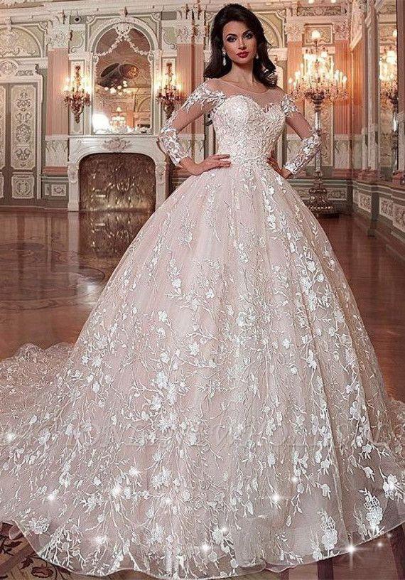 Gorgeous Sweetheart Long Sleeve Appliques Ball Gown Wedding Dress Wedding Dresses Ball Gown Wedding Dress Princess Wedding Dresses