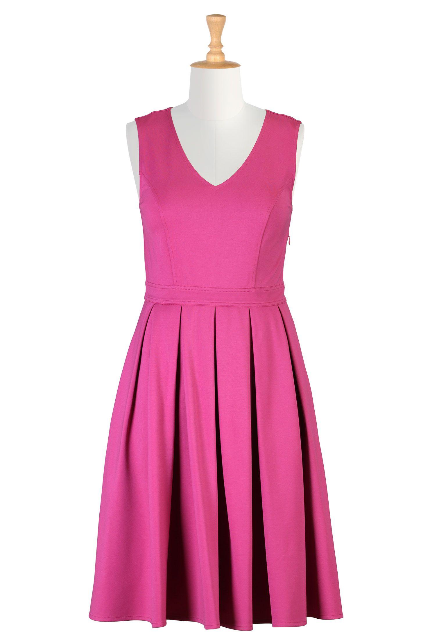 Hot Pink Ponte Knit Dresses, Fit-And-Flare Dresses Shop women's designer fashion - Empire Waist Dresses - Empire Dresses | Women's Clothing at eShakti.com - | eShakti.com