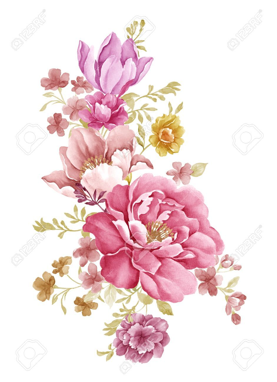 Flower illustration classic google flower pattern for Watercolor flower images