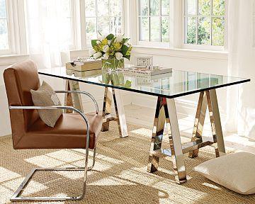 Ralph Lauren Highbridge Desk Polished Stainless Steel Gl Top Is 3 4 Thick