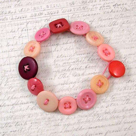 Mismatched Pink Button Bracelet Small Metal Free by XOHandworks