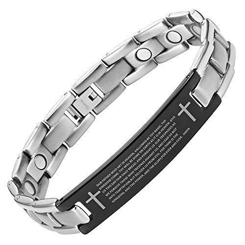 03f258fe9752f Willis Judd Mens Lord Prayer In English Titanium Magnetic Bracelet ...