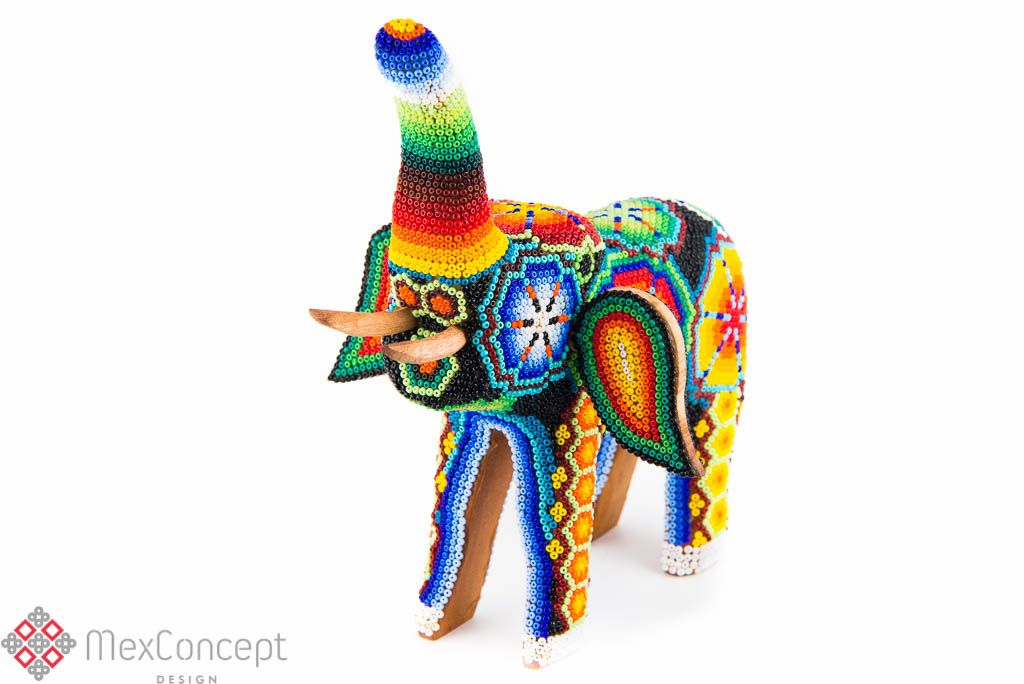 Huichol Elephant | Handcrafted art by MexConcept® | www.mexconcept.com