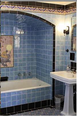 Art Deco Bathroom In Baby Blue W Tile Mural Shower