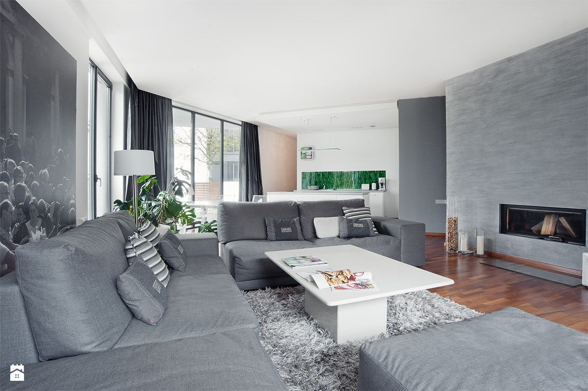 Salon styl nowoczesny re arch home staging szary salon grey living room pinterest - Home staging salon ...