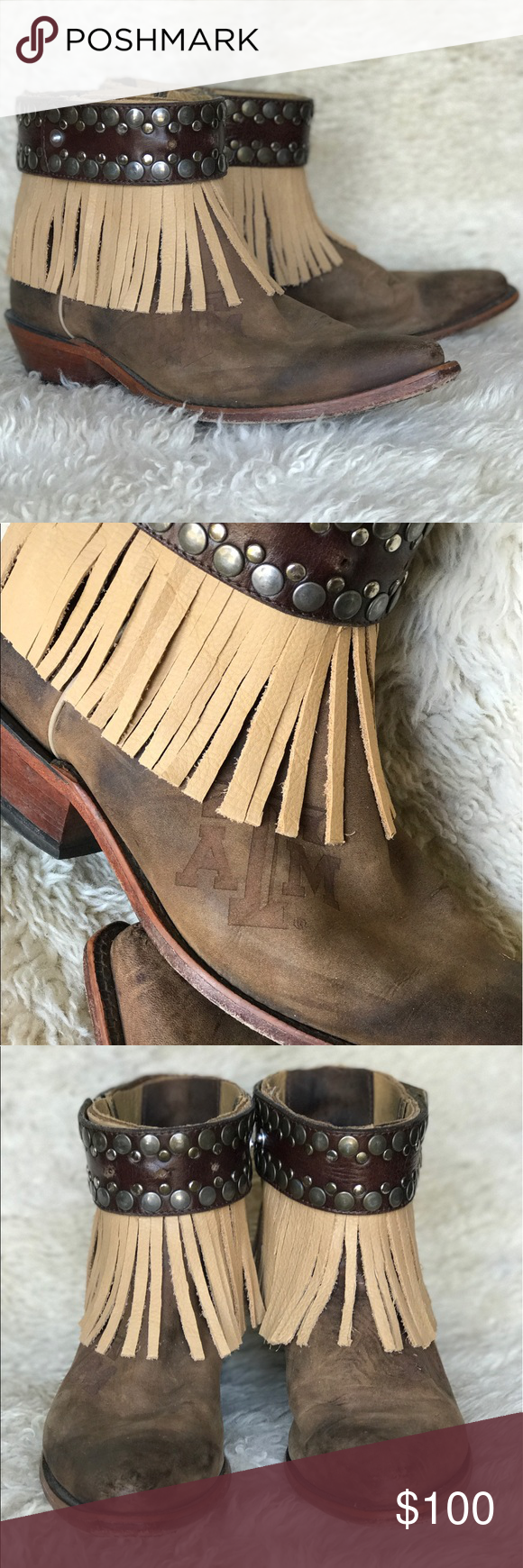 Texas A&M custom reworked boots Size 9 but would fit a 7.5/8 best. These are a custom reworked, hand cut fringe pair of boots! Perfect for festival season!!! Haeli Mae'd Shoes Ankle Boots & Booties