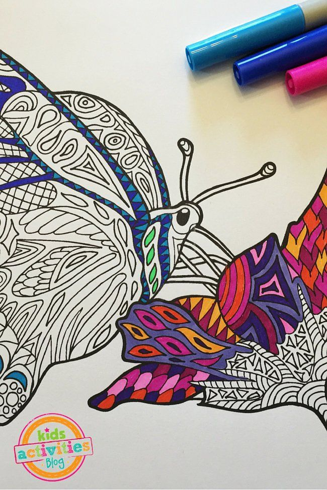Printable Adult Coloring Page - Butterfly on Flower Zentangle