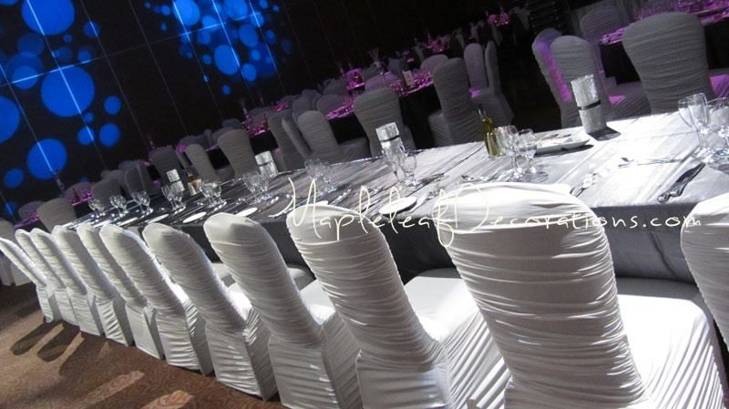 GIselle or rouched style chair covers rentals in toronto wedding