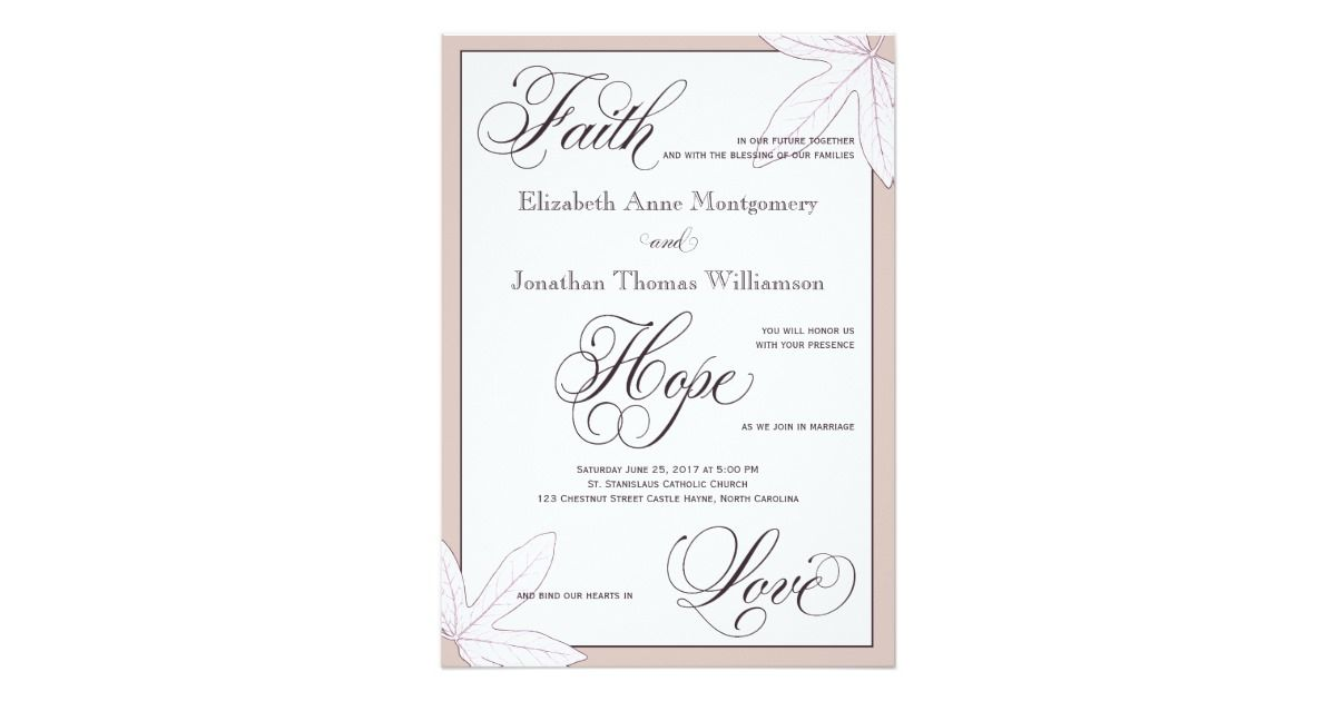 As adapted from 1 Corinthians 13, this elegant lavender Faith, Hope, and Love wedding invitation is an ideal choice for the traditional Christian wedding, ...