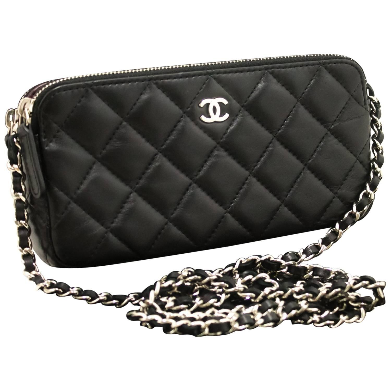 Chanel Wallet On Chain WOC Double Zip Chain Black Shoulder Bag ... d46f5c8ab8a6f
