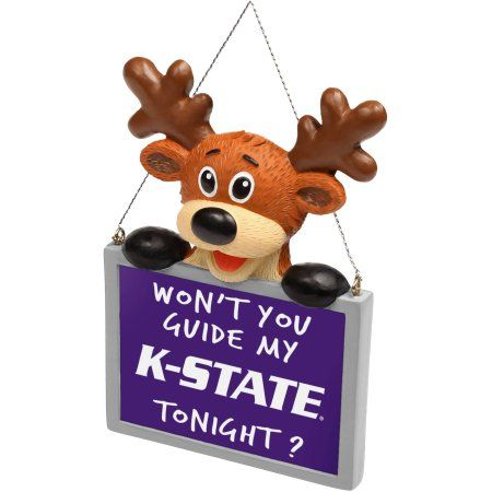 Kansas State Reindeer with Sign Ornament, Multicolor