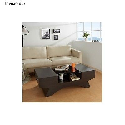 #Priceabate Contemporary Coffee Table Glass Top 2-Drawer Espresso Family Room Furniture - Buy This Item Now For Only: $259.29