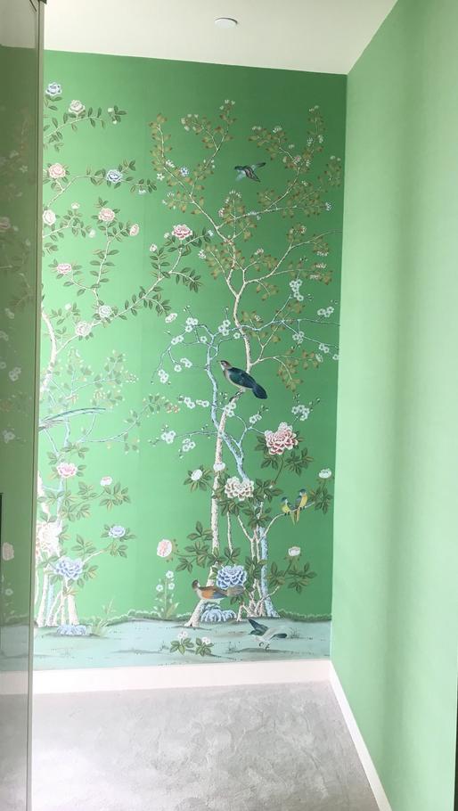 Earlham on emerald green silk wallpaper Chinoiserie