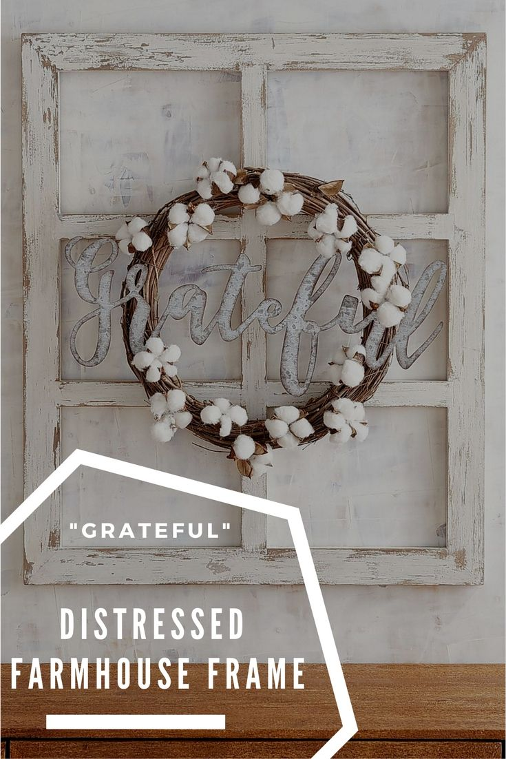 Farmhouse distressed, whitewashed frame with wreath and cutout of ...