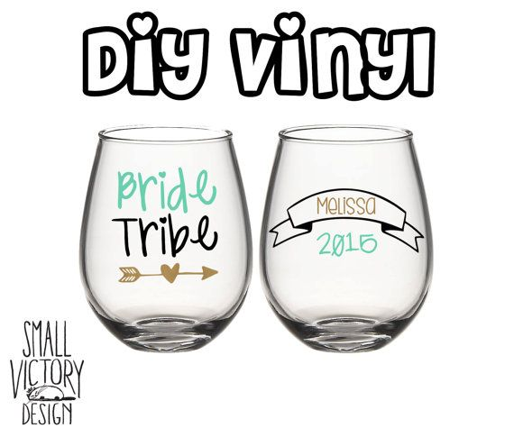 Bride Tribe Bachelorette Party Personalized Vinyl Decals DIY - Wine glass custom vinyl stickers