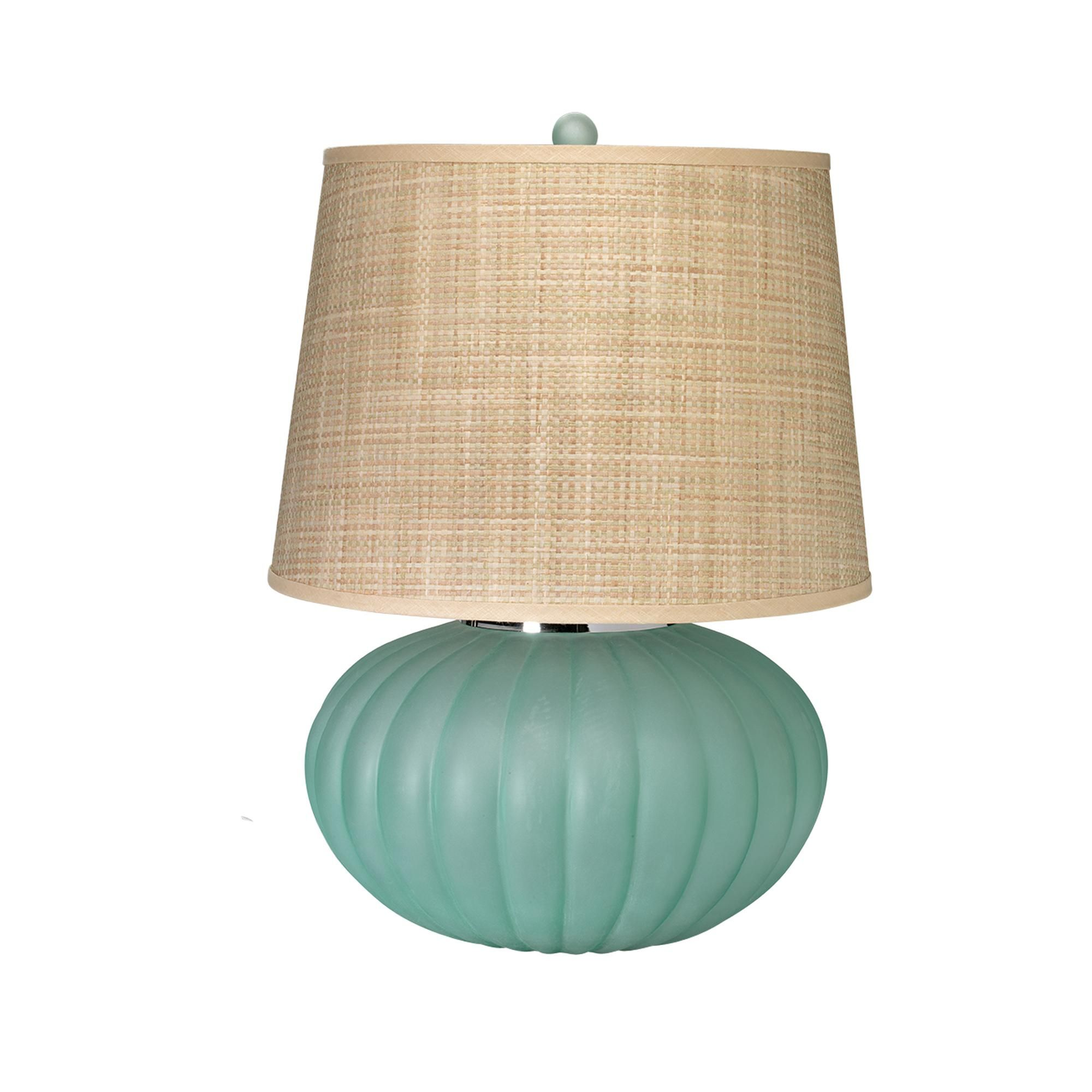 Fluted Ball Table Lamp In Sea Glass Glass Table Lamp Table Lamp Lamp