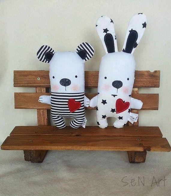 Black and White Handmade Stuffed Bunny Soft Toy Bunny by SenArt1