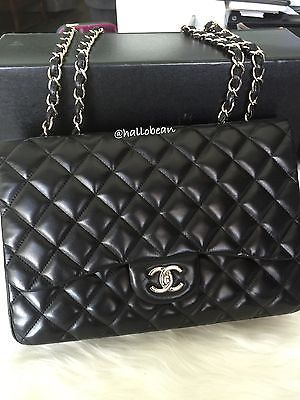deb133198ba2 AUTH-Chanel-Classic-Black-Lambskin-Leather-Quilted-Jumbo-Single-Flap-Bag-w- SHW