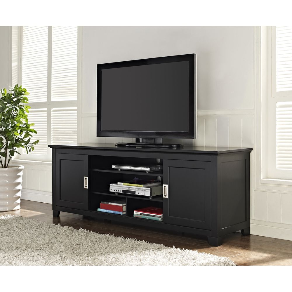 Black 70 Inch Wood Tv Stand With Sliding Doors Overstock Com