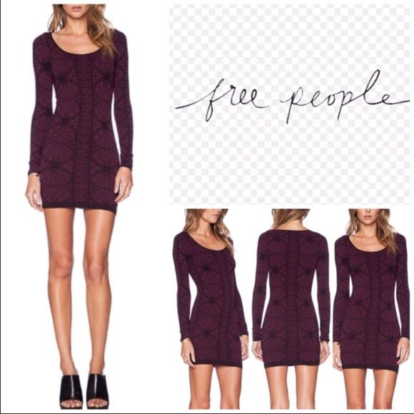 Free People Intimately seamless bodycon dress Super stretchy soft material, super flattering dress! Worn once. Color is maroon & black. Cheaper on Ⓜ️erc Free People Dresses Long Sleeve