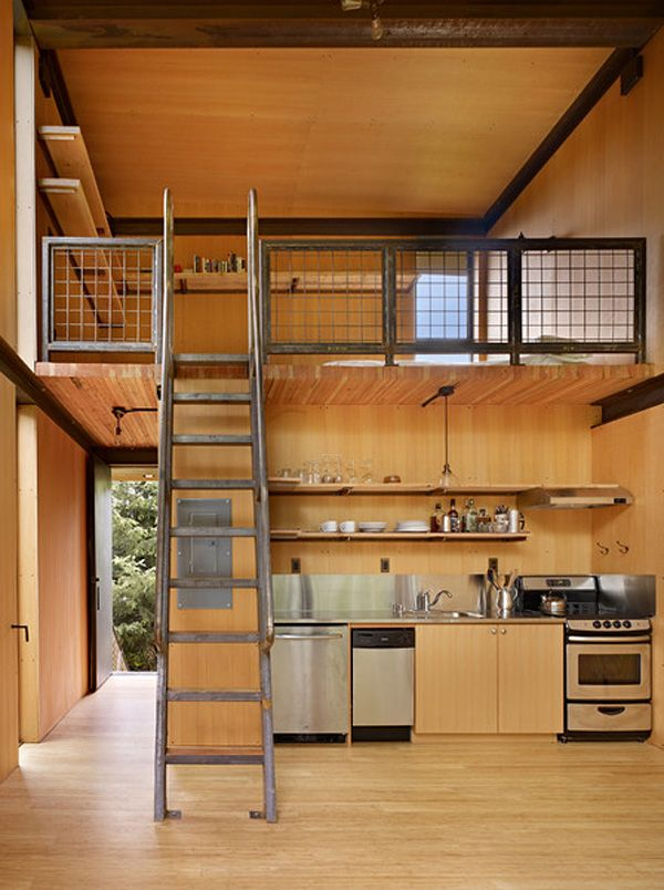 Meet the sol duc cabin by olson kundig architects interior of tiny modern with loft view from inside and elevated steel deck balcony photos also best design images on pinterest home ideas libraries rh