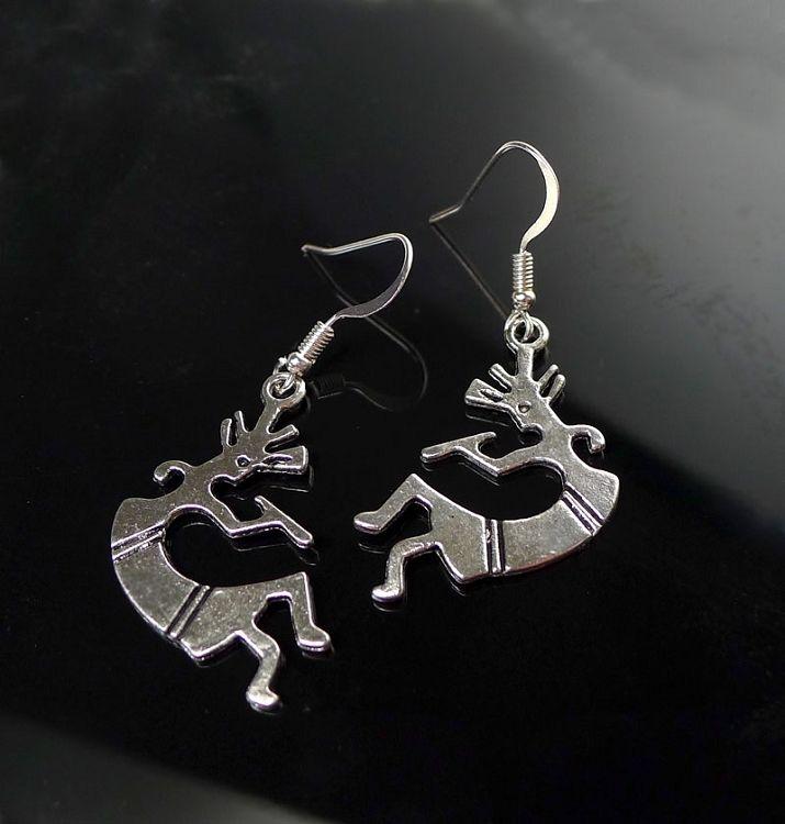 Silver Kokopelli Earrings - Everyday Southwestern Jewelry