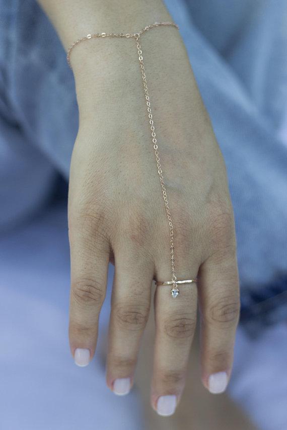 Sterling Silver Slave Bracelet Ring Bracelet Bridesmaid Jewelry Gift Gold Hand Chain Bracelet Dainty Slave Bracelet Bridal Jewelry