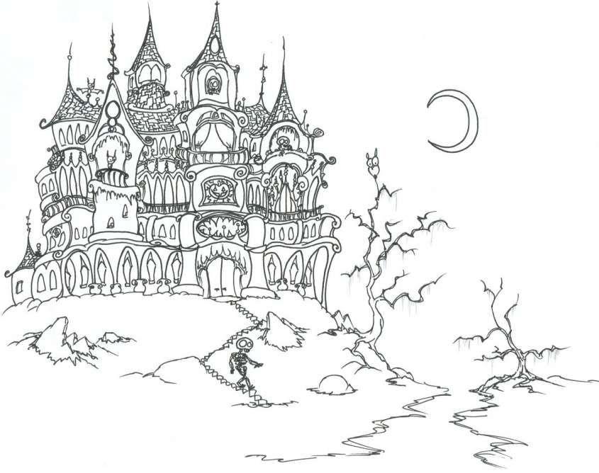 Castelli Stregati Di Halloween Castello Stregato Halloween Fantasy Streghe Di Halloween Pagine Da Colorare Per Adulti Case Stregate Di Halloween