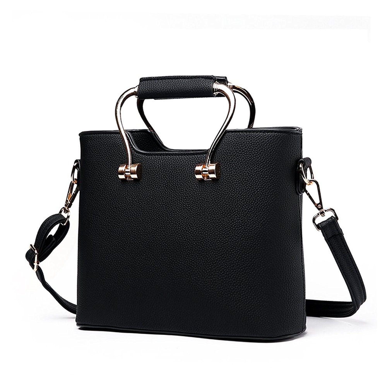 c2e3a7976d91 Amazon.com  BAIGIO Ladies Faux Leather Fashion Top-Handle Small Handbag  Shoulder Bags Totes Bags For Women (Black)  Shoes