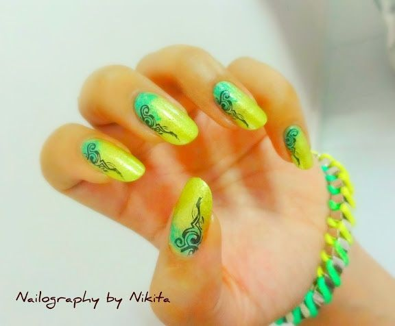 fluorescent green with black stamped