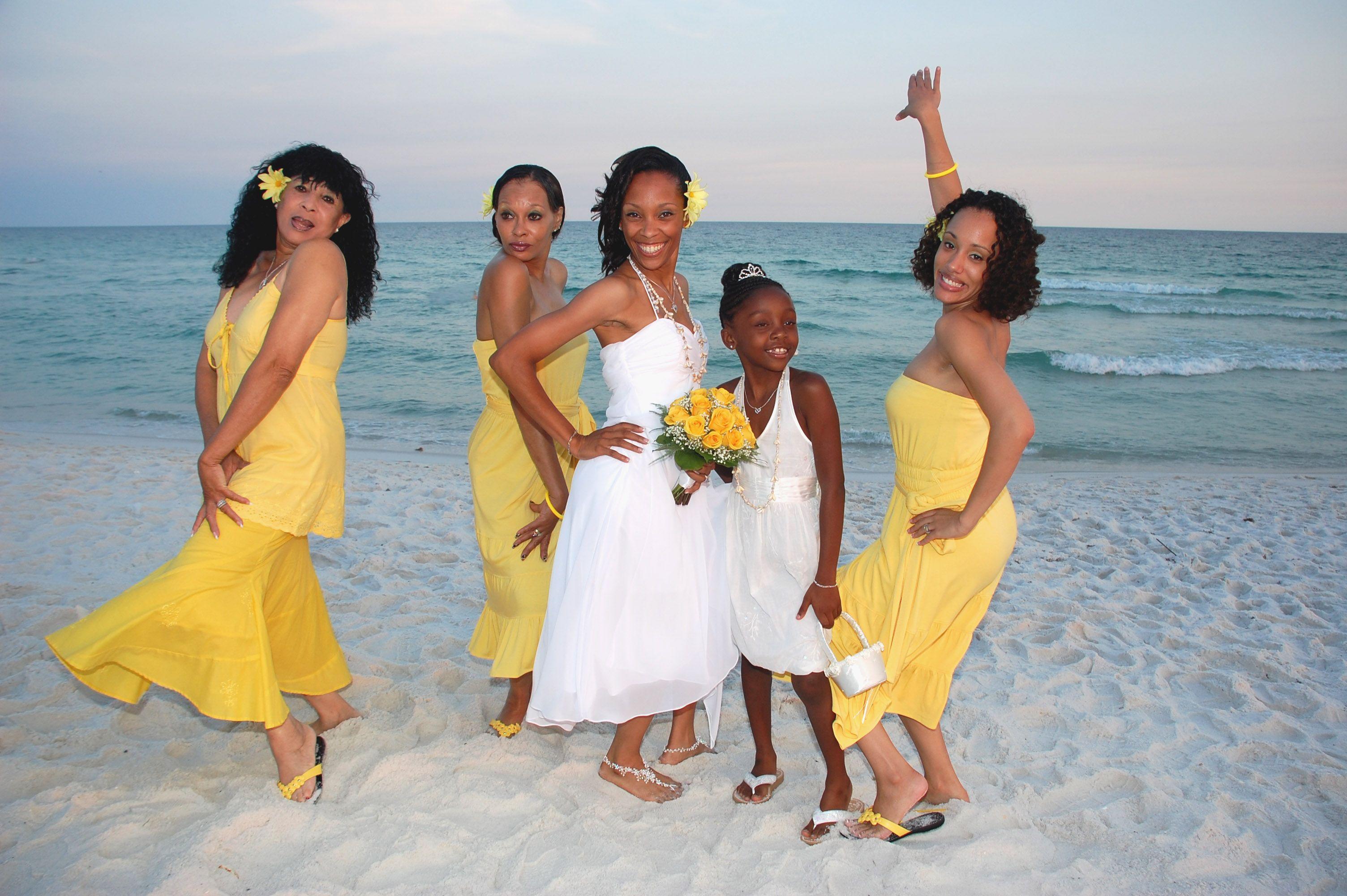 Florida Beach Weddings By Barefoot Weddings Florida Beach Wedding Beach Wedding Yellow Barefoot Wedding