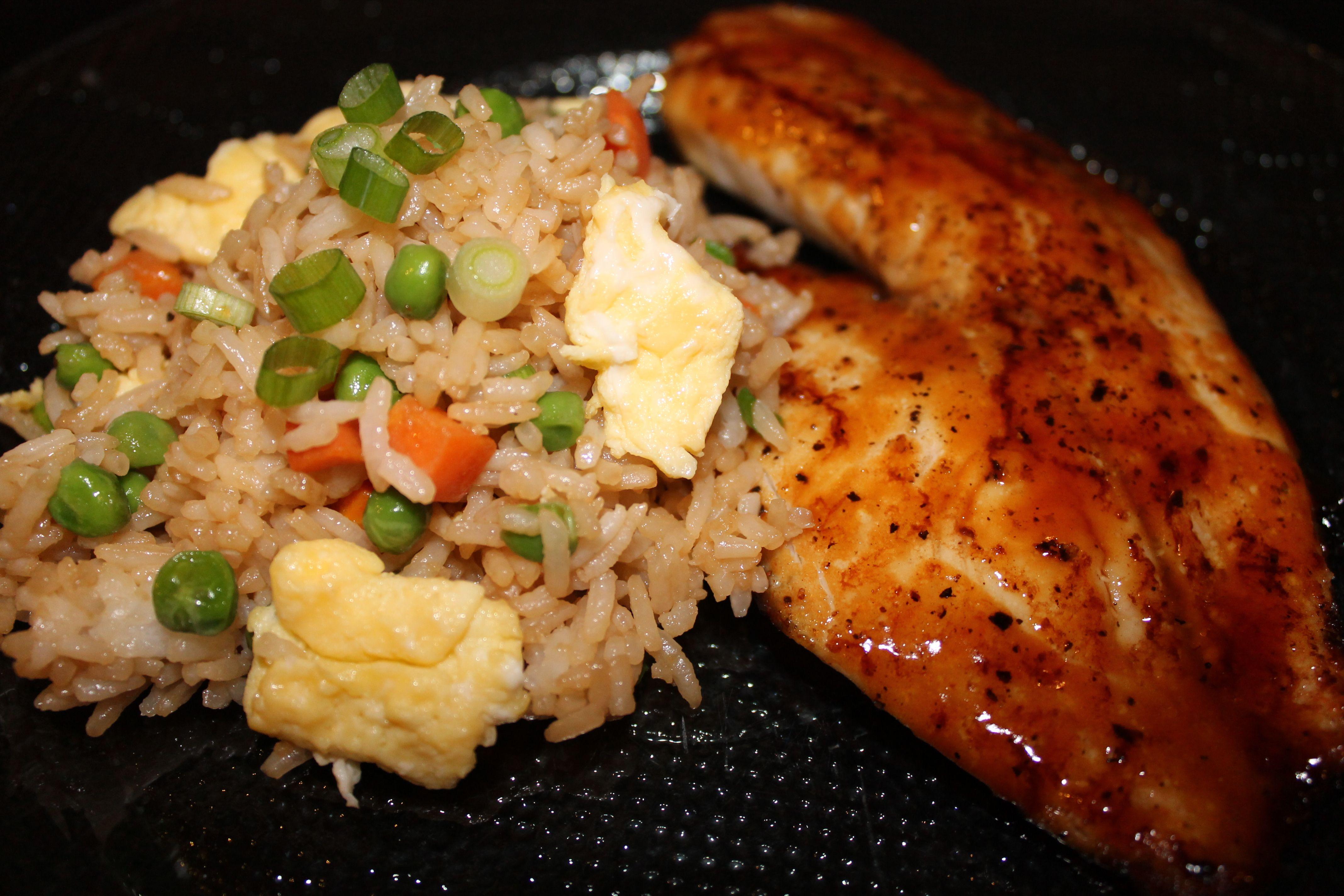 Vegetable Fried Rice And Teriyaki Glazed Tilapia Tilapia And Rice Recipe Tilapia Recipes Talapia Recipes