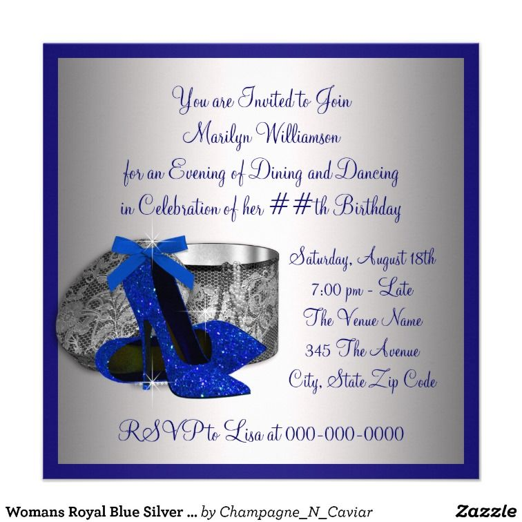 womans royal blue and silver birthday party card | party, Party invitations