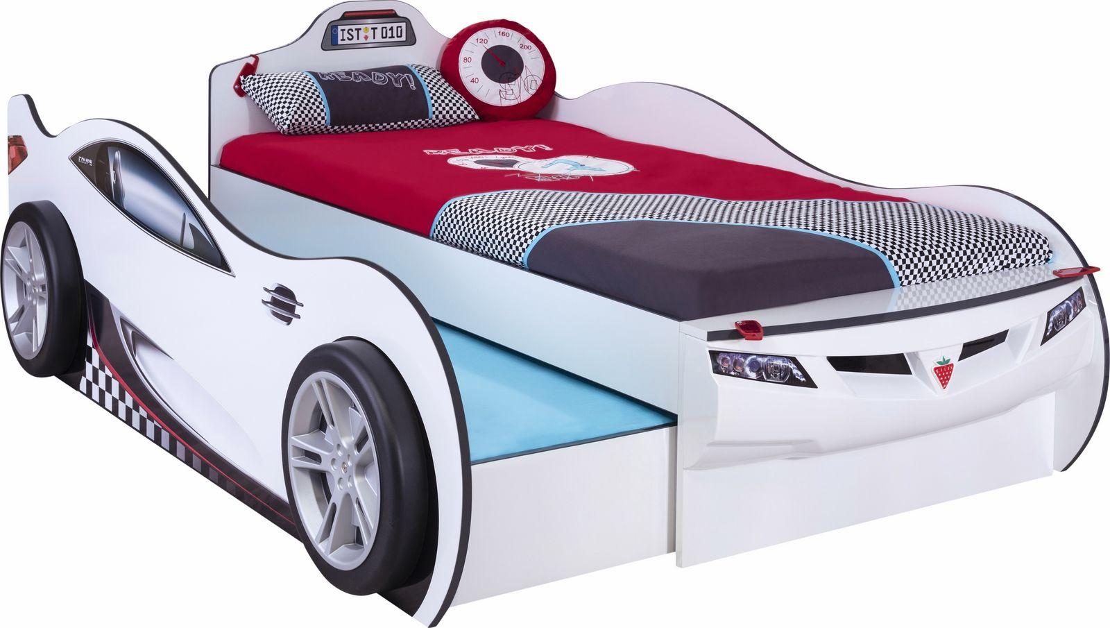 Autobett Racer Double Weiß