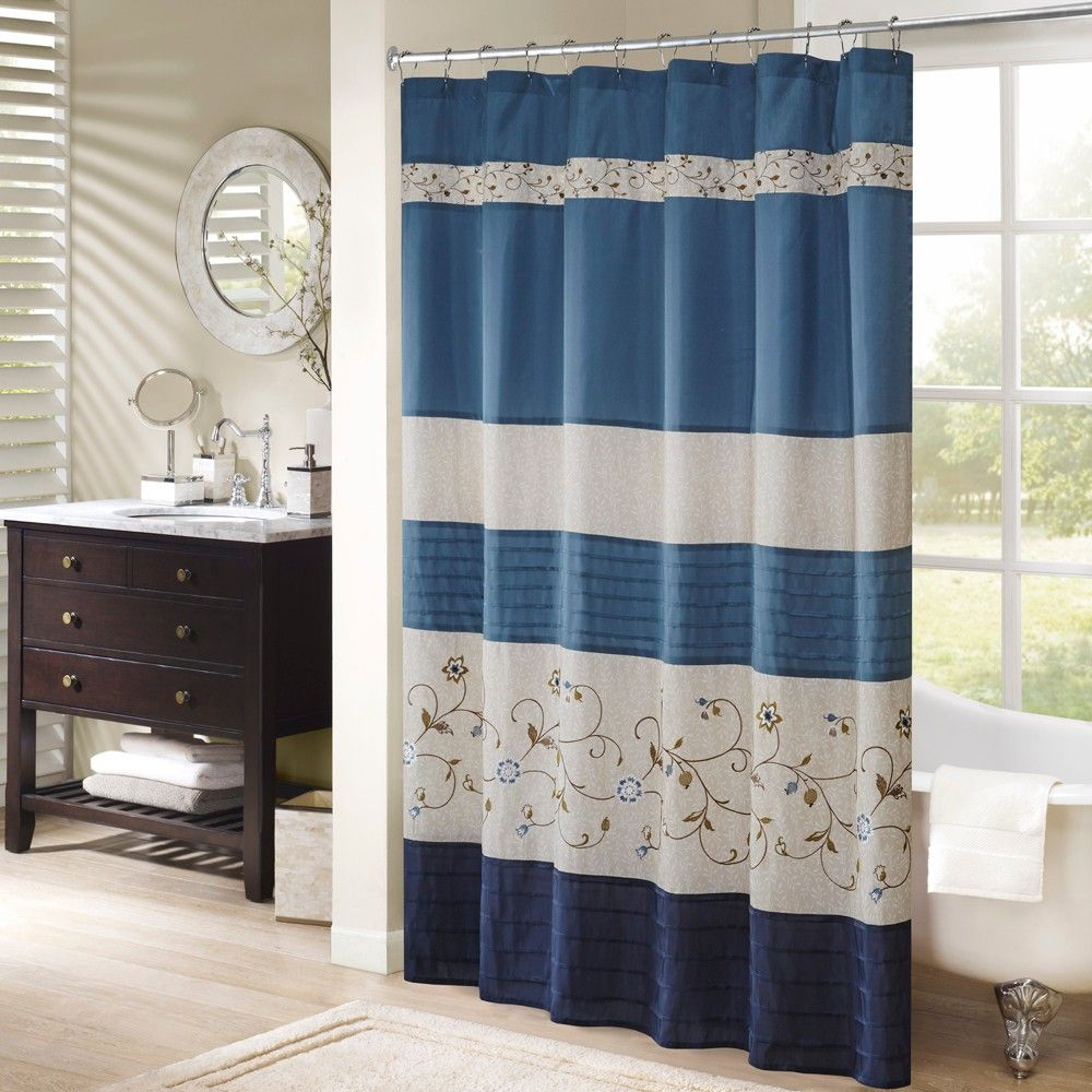 Monroe embroidered floral shower curtain navy blue x