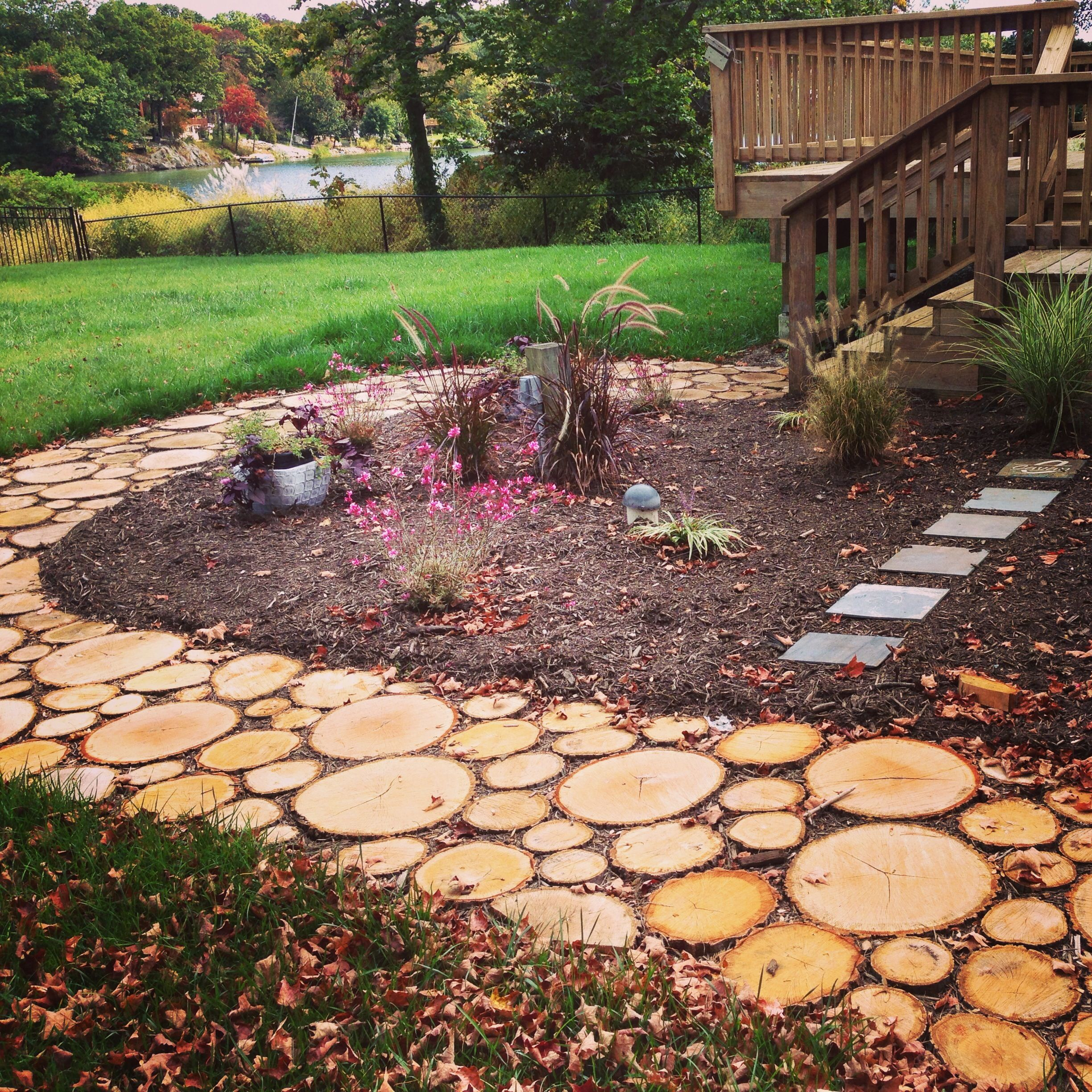 love how the sliced wood walkway turned out :) | For the ...