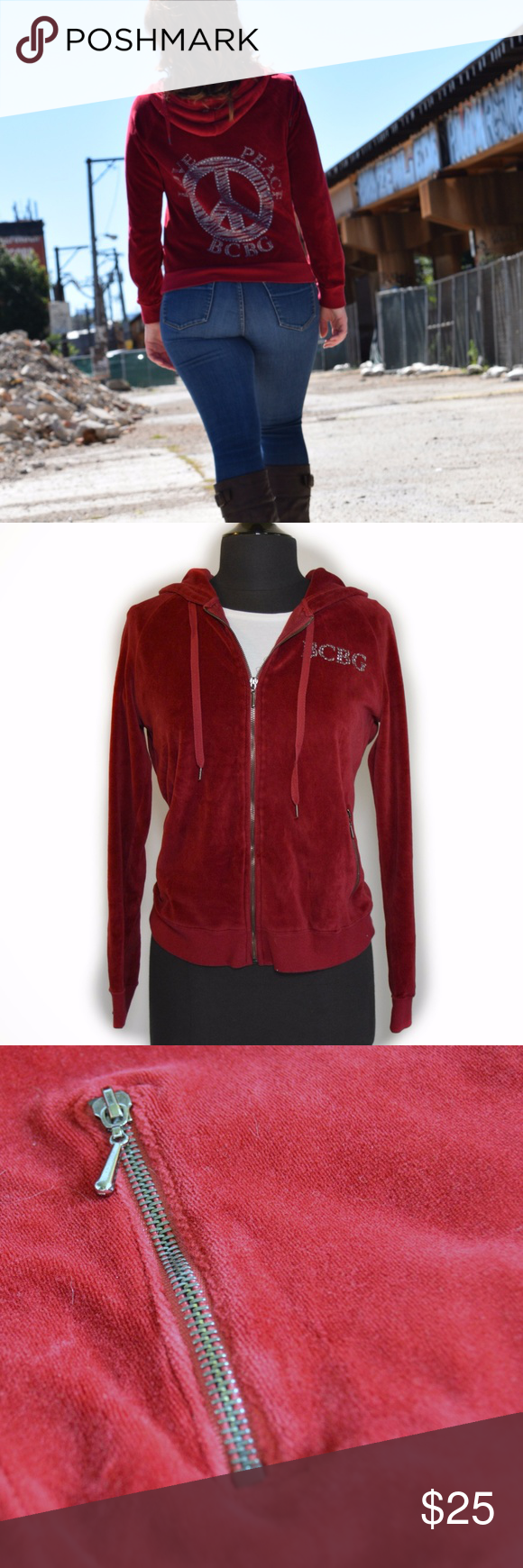 Bcbg love u peace red velour hoodie jacket shopmycloset poshmark