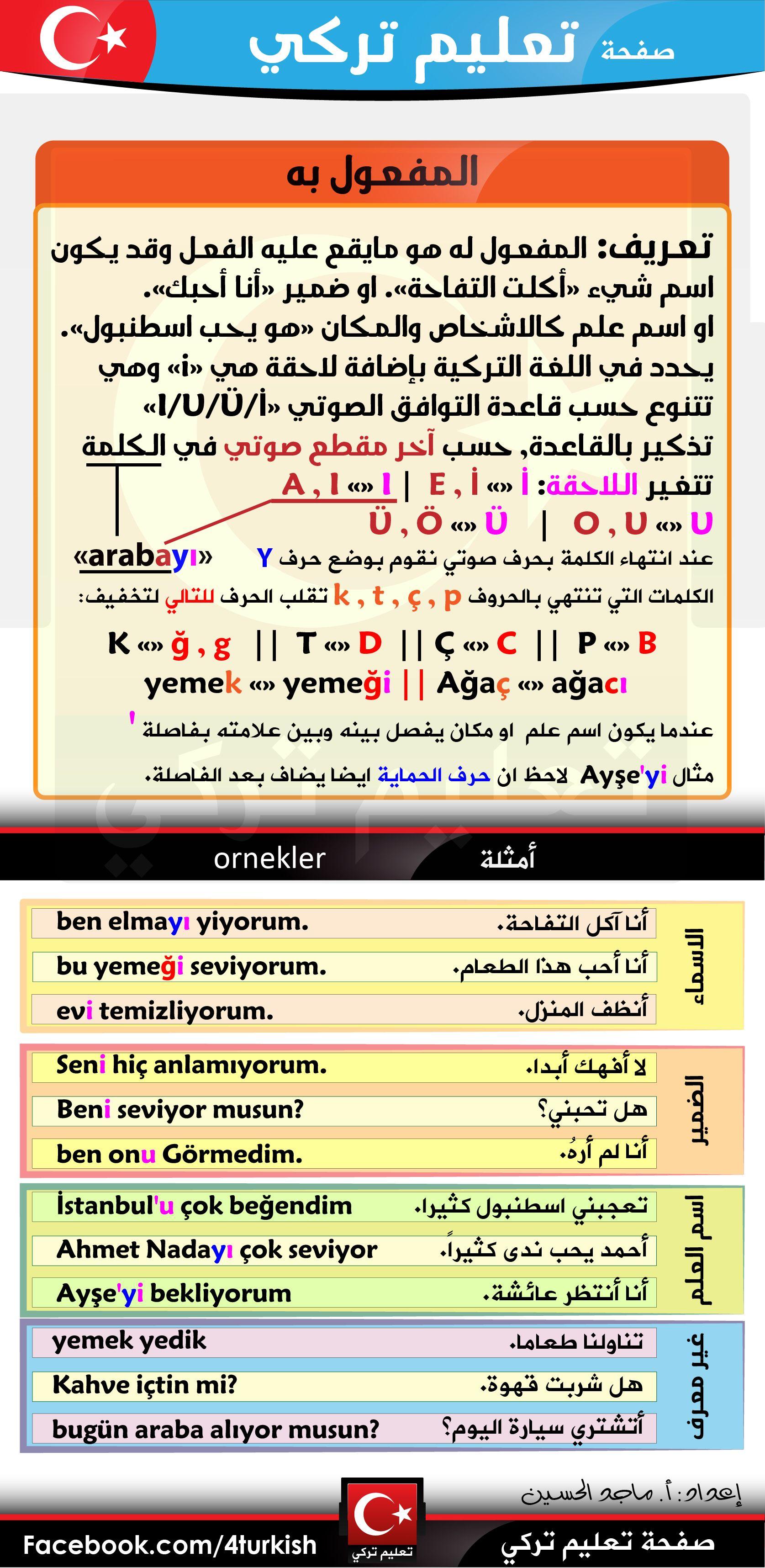 قواعد المفعول به تعريفه أنواعه استخدامه أمثلة كثيرة وشاملة للحالات Https Www Facebook Com 4turkis Learn Turkish Language Turkish Language Learn Turkish