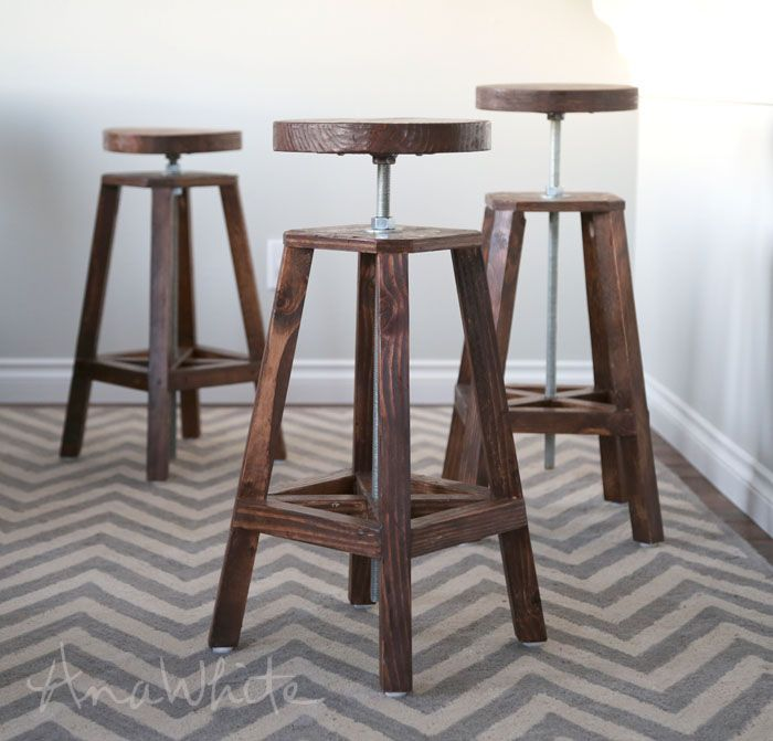 Build A Industrial Adjustable Height Bolt Bar Stool Free And Easy Diy Project And Furniture Plans Diy Stool Diy Bar Stools Industrial Bar Stools