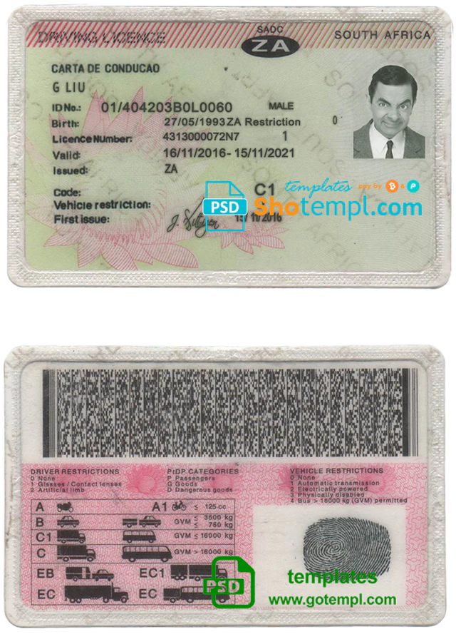 South Africa Driving License Template In Psd Format Driving License Templates Document Templates