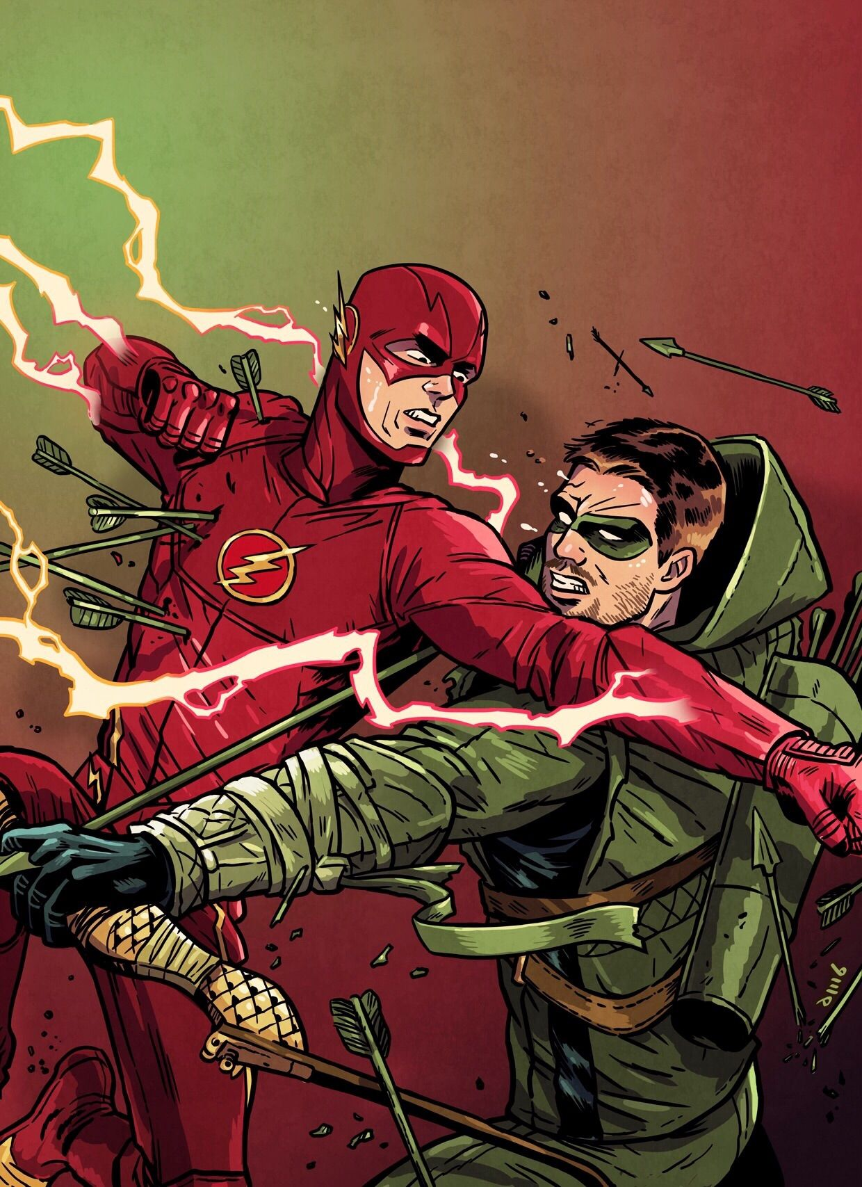 Dc Comics Fans : The flash vs arrow art by david m buisán cosplay life