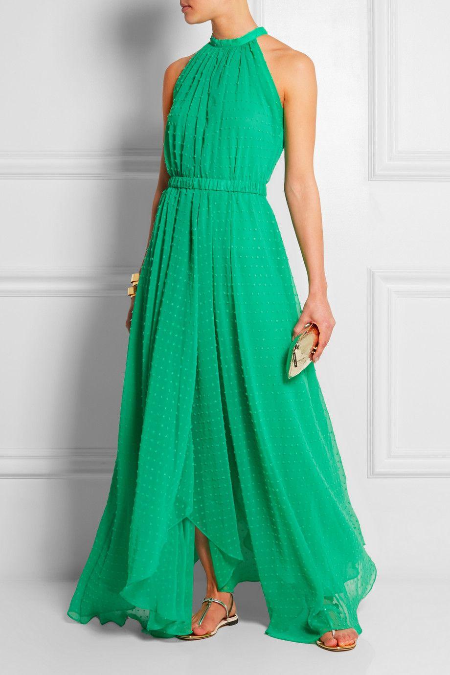 Saloni  Irina Swiss-dot chiffon maxi dress  NET-A-PORTER.COM