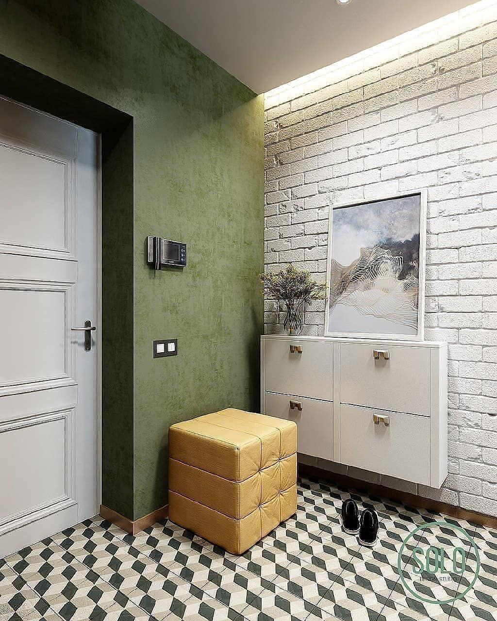 белый кирпичик на стене в холле фото масло очень
