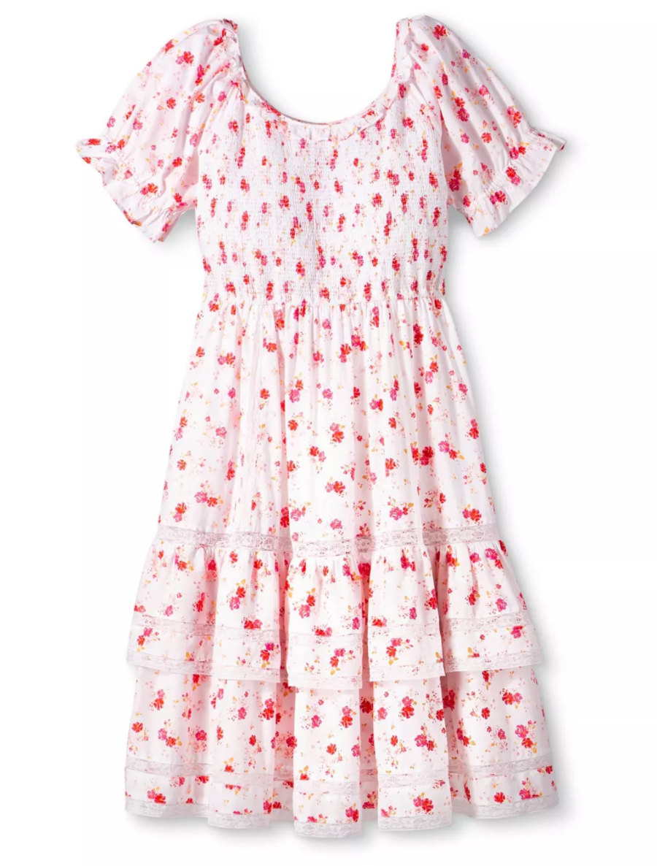 Loveshackfancy X Target Puffed Sleeves Dress Midi Short Sleeve Dress Dresses [ 1186 x 900 Pixel ]