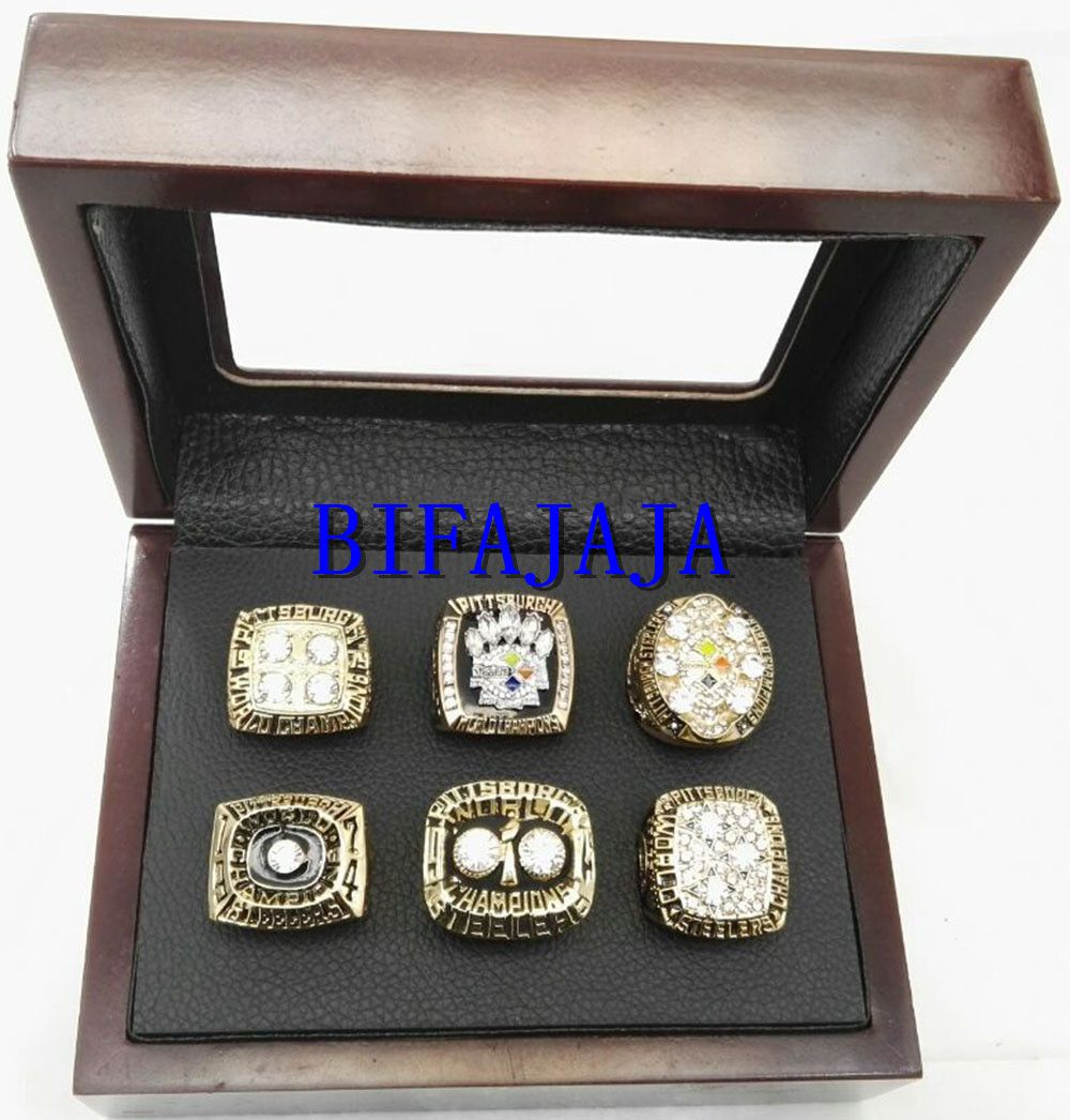BIFAJAJA Drop Shipping 6pcs  set 1974 1975 1978 1979 2005 2008 Pittsburgh  Steelers championship rings Statement Men Jewelry 345ebf0468